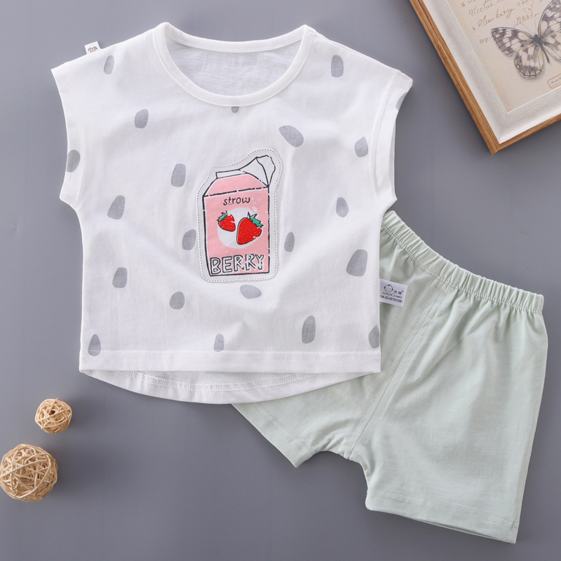 Newborn Baby Clothing Set Strawberry Cute Pattern Summer Style Tops Shorts 2pcs Soft High Quality Toddler Girls Boys Kids Suits