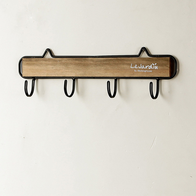 Retro Wooden Iron Clothing Hooks Behind The Door Household Wall Hanging  Hooks 2 Colors for Choosing