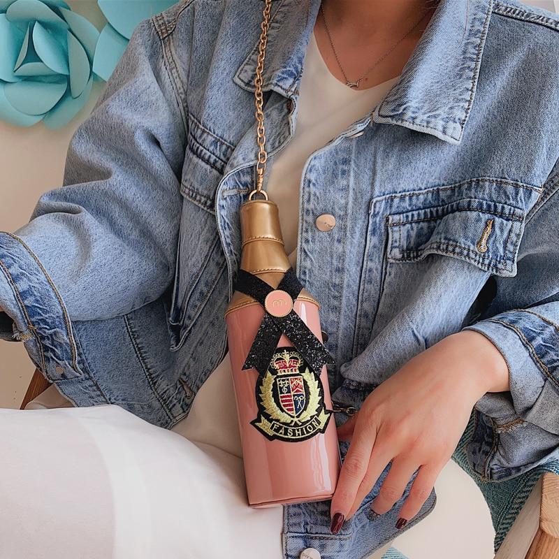 Crossbody colore Di Nero Rosa Tote Il Della Bottiglia Distintivo Disegno Frizione Signore Elaborazione Delle Spalla verde Del Catena Sacchetto Personalità Modo Dell'unità Divertente Borsa pSqBUwS