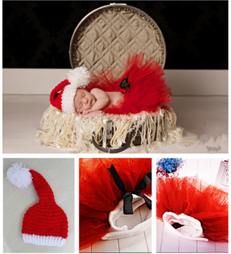 Baby handmade Christmas long tail cap and cute little red skirt photography props baby shower gift
