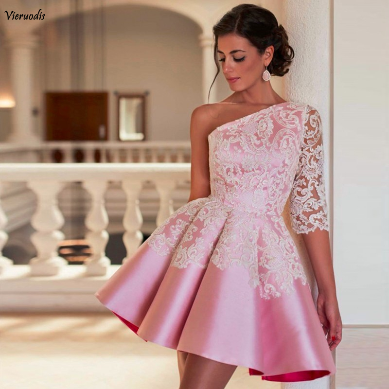 Ball Gown One Shoulder Prom Dress Robe De Soiree Pink Evening Party Dress Sexy Short Prom Dresses 2018