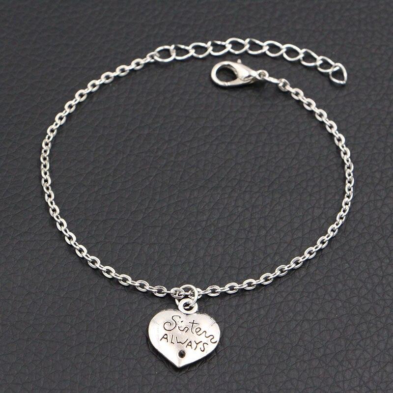 Jewelry Antique Silver Sister Always Best Friend Charms Bracelet DIY Handmade Link Chain Personalized Bracelet For Women