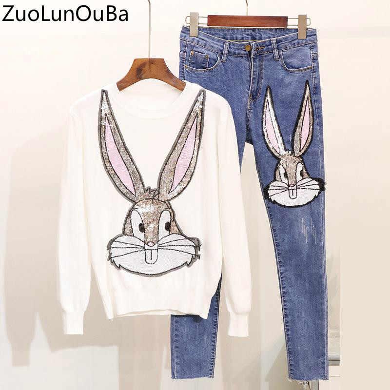 Высокое качество, комплект из 2 предметов, женский осенне-зимний новый тяжелый вязаный свитер с блестками и рисунком кролика, облегающий джинсовый костюм, женская одежда