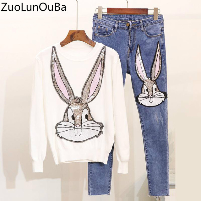 1d1cd42ce6e54d Best Price ZuoLunOuBa 2 Piece Set Women 2018 Autumn Winter New Heavy Work  Sequins Cartoon Rabbit Knit Sweater Slim Jeans Two piece Sets