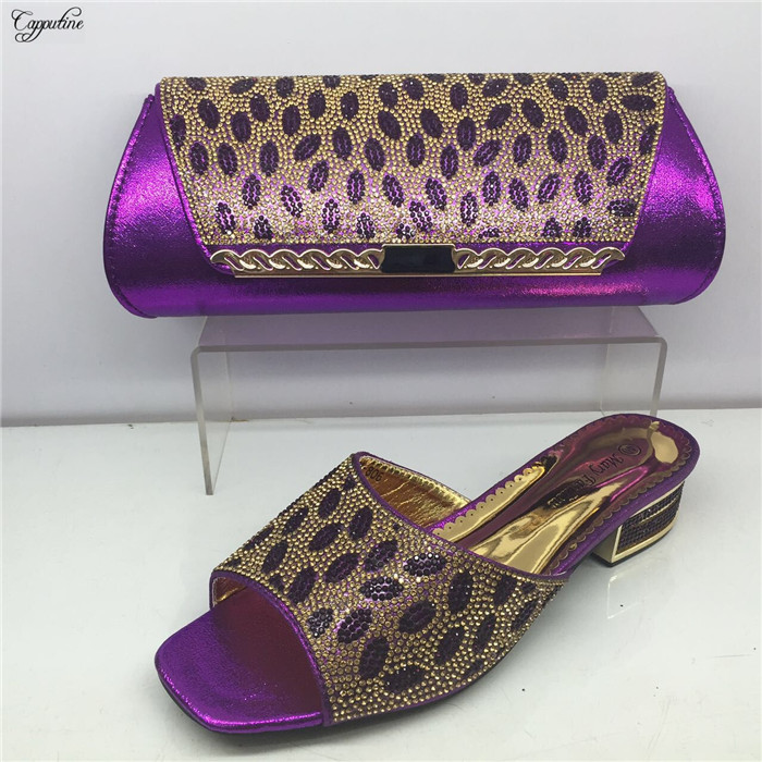Charming party set purple African slipper shoes matching with purse handbag set GY21 heel height 4cm