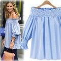 Elegant Blue Off Shoulder Blouse Shirt 2017 Sexy Summer Girls Blouse Women Tops Striped Blusas Kimono Flare Sleeve Blusas Body