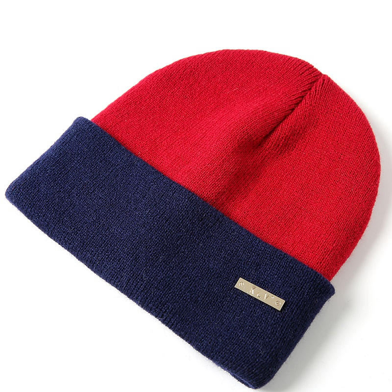 2018 Unisex Knitting Hats Fashion Patchwork Thicken Warm Hats for Autumn Winter New Arrival   Skullies     Beanies