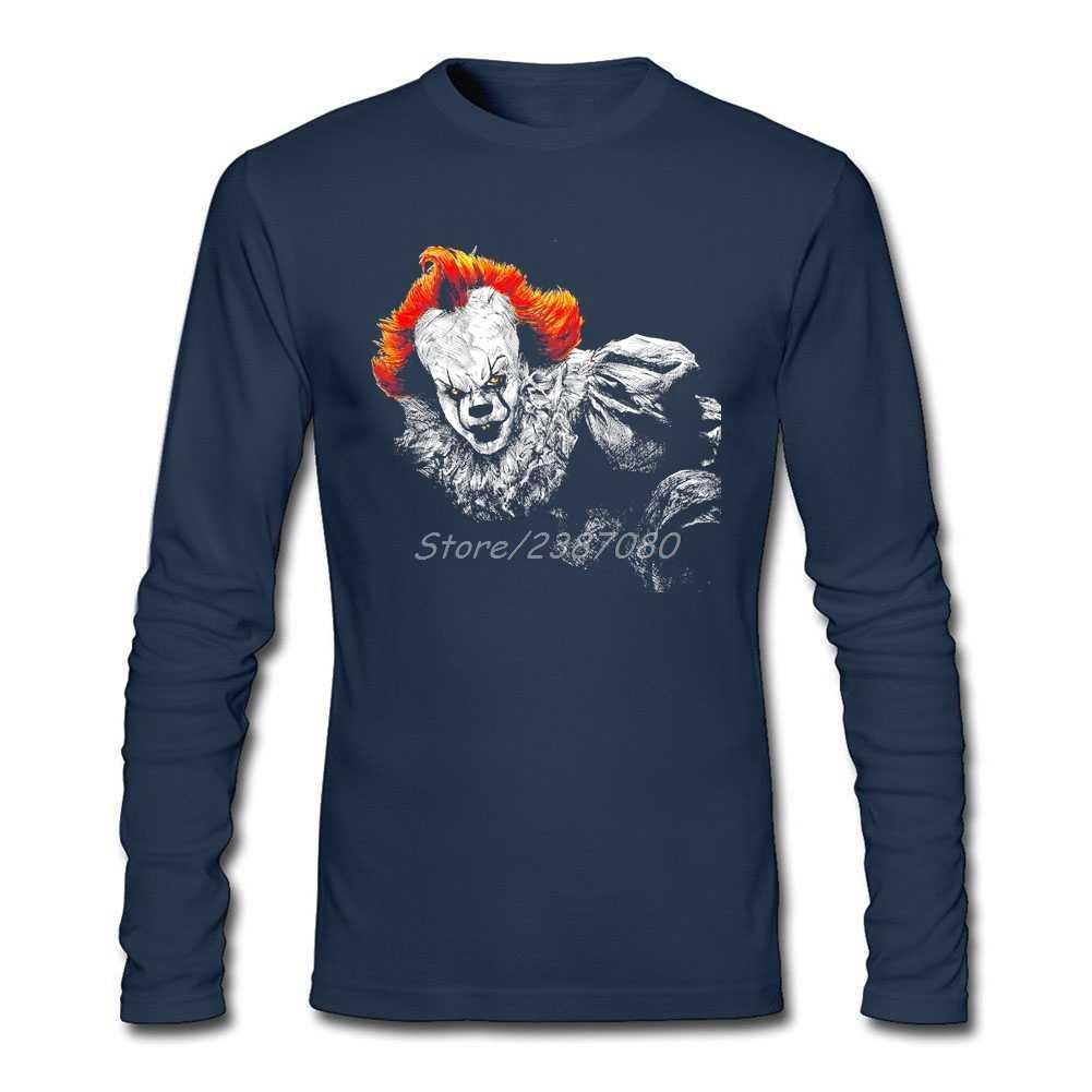 HipHop Hidup Bahagia Hidup T Shirt Homme Pria Pakaian Pria Katun Kaos Oblong Lengan Panjang Kustom Pennywise Clown Lucu T kemeja