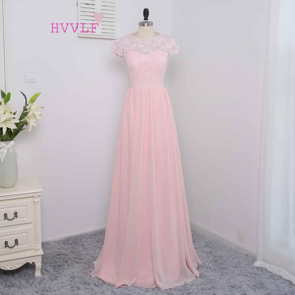 New 2019 Cheap   Bridesmaid     Dresses   Under 50 A-line Cap Sleeves Floor Length Pink Chiffon Lace Wedding Party   Dresses