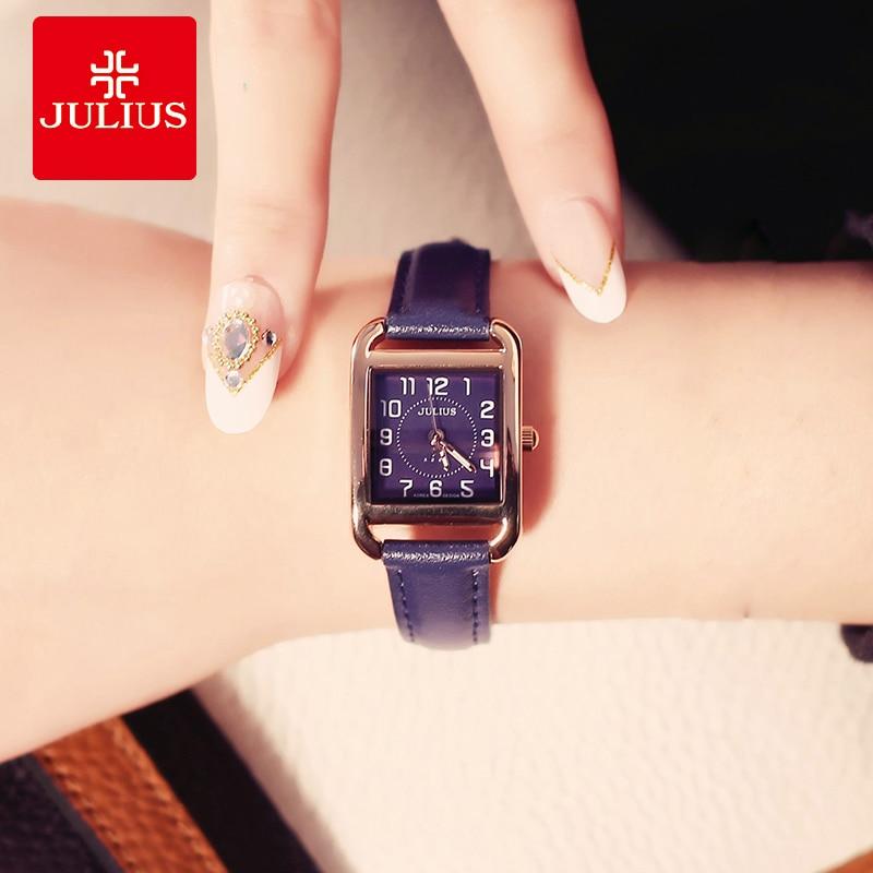 Julius Women Quartz Watches Silver Rose Gold Rectangle Leather Strap Bracelet Watch Square Ladies Clock Watch Montre Femme