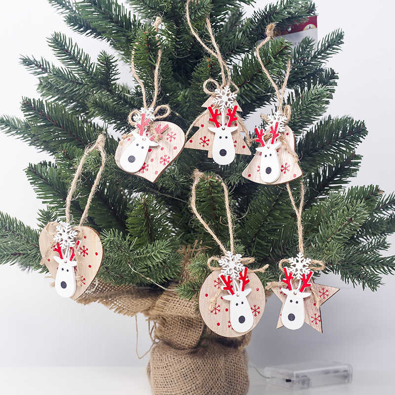 3Pcs Navidad Gifts Christmas Elk Bell Wooden Pendant Ornaments for Home Noel Tree Decor Christmas Party Decoration Kids New Year