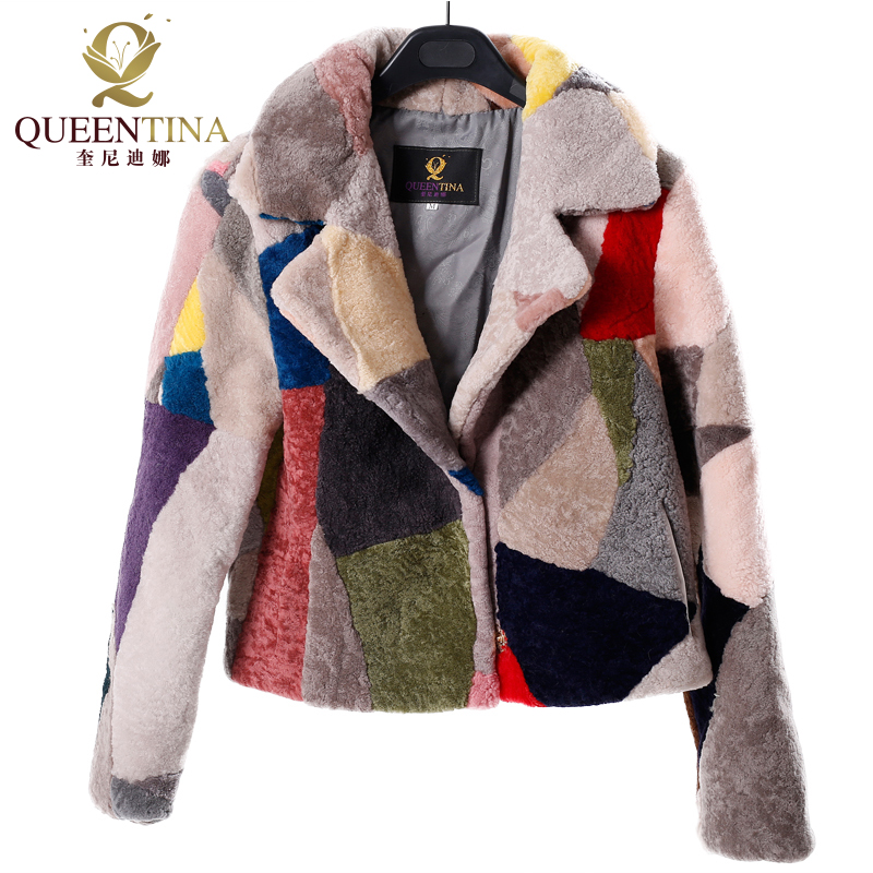 Noble Genuine Fur Sheepskin Coats for Women Winter Fashion Wool Coat Female Patchwork Colors Warm Outwear