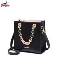 JUST STAR Women's PU Leather Handbags Ladies Fashion Chain Handle Tote Purse Female Flap All match Leisure Crossbody Bags