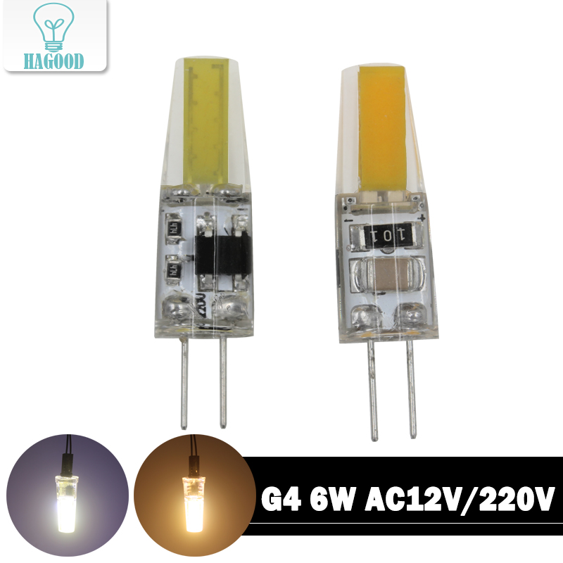 Mini 6W LED G4 COB Light Bulb AC12V / 220V Sillcone Body Built-in COB Chip for LED Spotlight Warranty Crystal Lamp