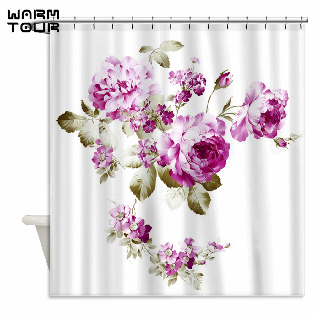 Warm Tour Simple Mauve Peony Rose Hydrangea Fabric Shower Curtains Waterproof Bathroom Curtain for Home Decoration WTC219