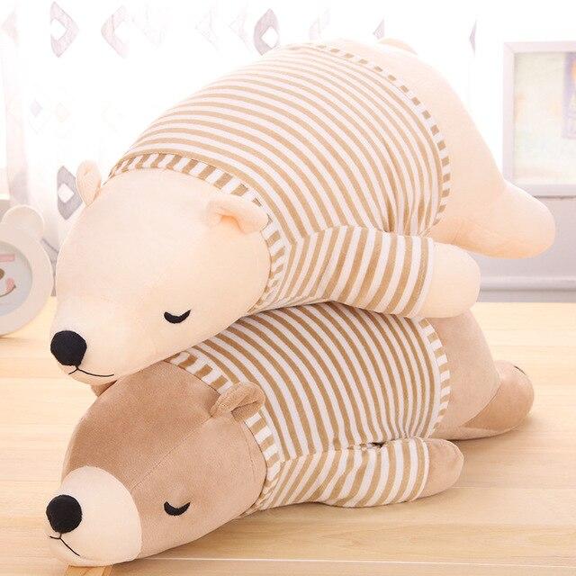 1pcs 50cm Big Lovely White/Brown Polar Bear With Striped t-shirt Plush Pillow Toy Lovely Stuffed Polar Bear Doll Kids Gift