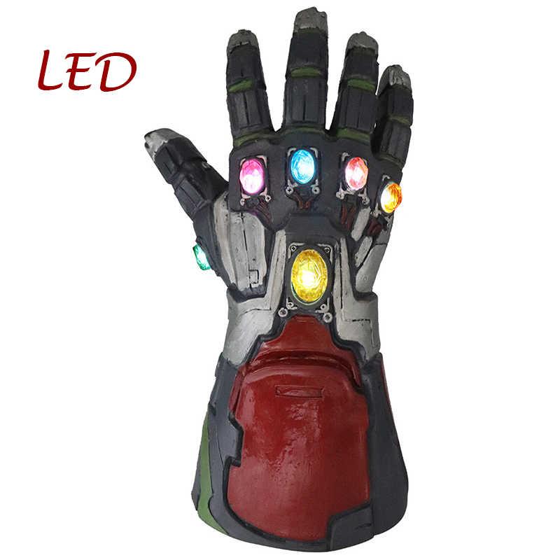 Vingadores 4 homem de ferro luva traje led infinity gauntlet thanos luvas vingadores super-herói hulk prop ironman pvc máscara adulto