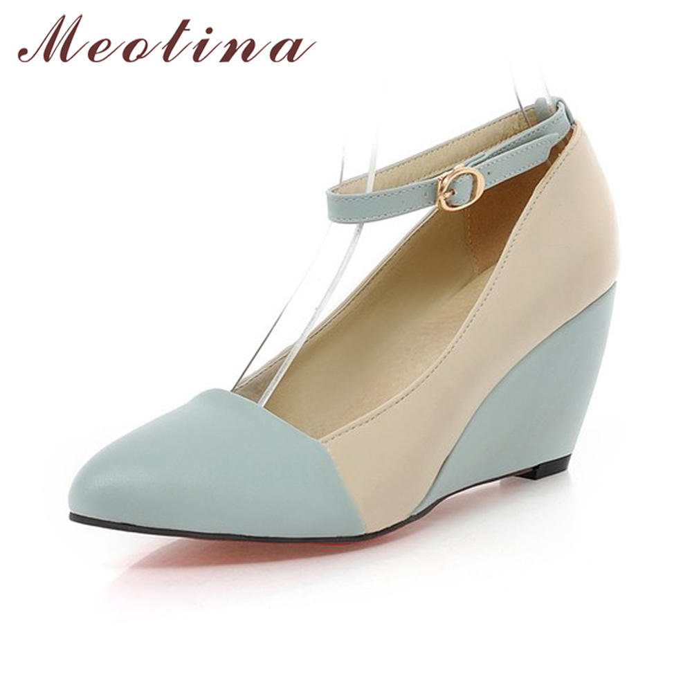 Meotina Shoes Women Pumps Spring Autumn Pointed Toe Ankle Strap High Heels Wedges Shoes Blue Black Ladies Shoes Big Size 40 41 plus size 34 49 new spring summer women wedges shoes pointed toe work shoes women pumps high heels ladies casual dress pumps