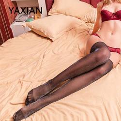 Блестящие чулки прозрачные бедра длиной до колена Bas продаж филигрань чулки для женщин пикантные черные сапоги 2018 Новый