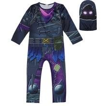 Купить с кэшбэком New Raven Skin Cosplay Costume Kids Streetwear Costumes Boy Jumpsuits FortnitedCosplay Children Halloween Skull Trooper Costume