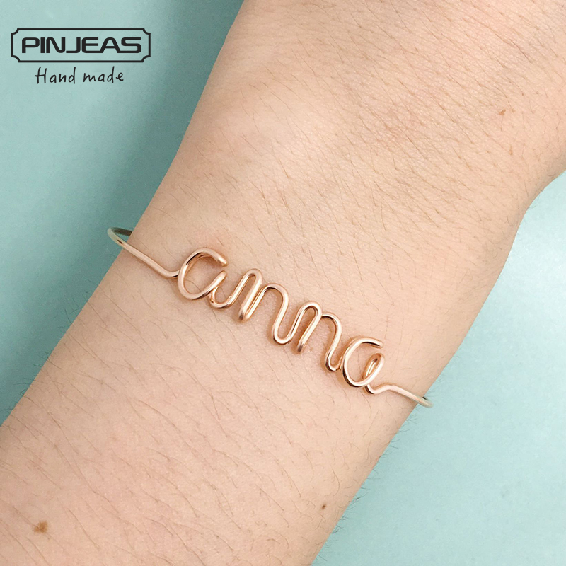 PINJEAS nombre personalizado pulsera hecha a mano DIY alambre carta personalizada cualquier palabra minimalista brazalete mujer regalo joyería