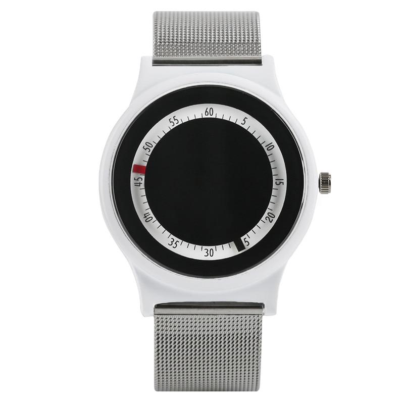 Concise Sport Watch Luminous Turntable Dial Mesh Band Casual Men Women Quartz Wristwatch Simple Students Clock relogio masculino
