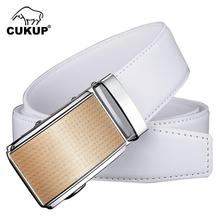 CUKUP Brand Men's Quality White Cow Genuine Leather Belts Automatic Buckle Metal Belt Men Casual Accessories 35mm Width ZDCK135 3pcs 24 teeth 3m timing pulley bore 6 35mm 5meters htd 3m timing belt neoprenen width 15mm for laser engraving cnc machines