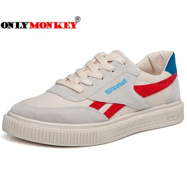 ONLYMONKEY Fashion Mixed Color Vulcanize Shoes Men Flat Massage Healthy Men Casual Shoes Non-slip Outsole Men's Canvas Shoes