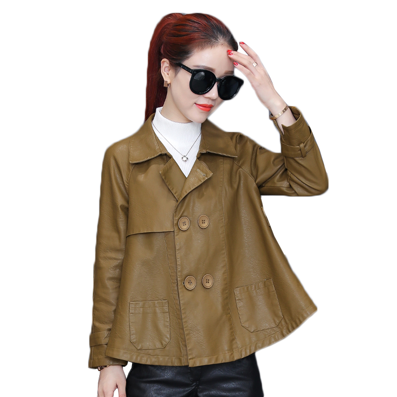 High Quality PU   Leather   Jacket Women 2019 Autumn New Motorcycle Coats Short Casual Loose Soft   Leather   Biker Jackets OutWear W846