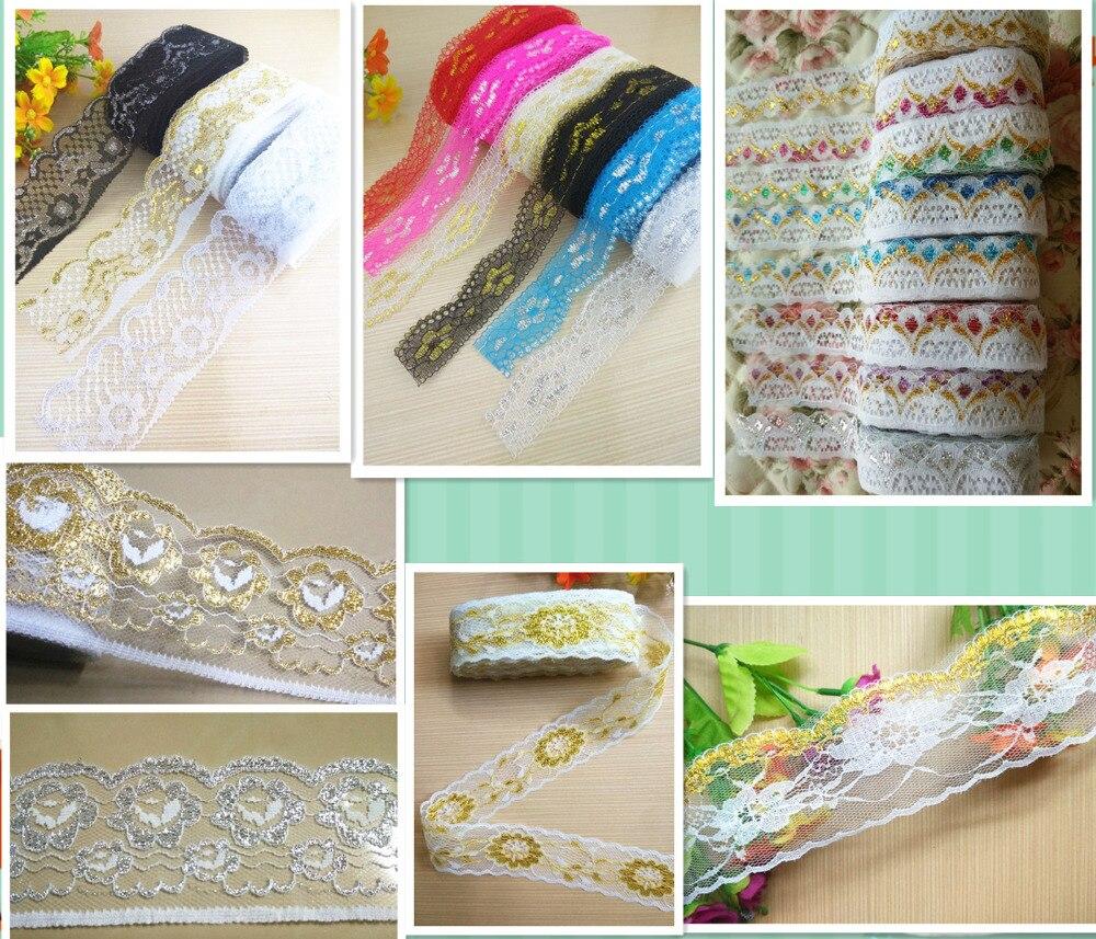 10 ярдов DIY Вышивка Кружева Плюс золото и серебро многоцветное кружево 28/30/50/60 мм широкие аксессуары для шитья одежды