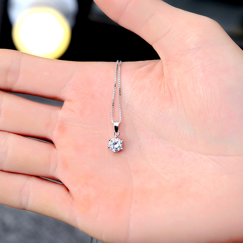 100% 925 Sterling Silver CZ Zircon Pendant Necklace