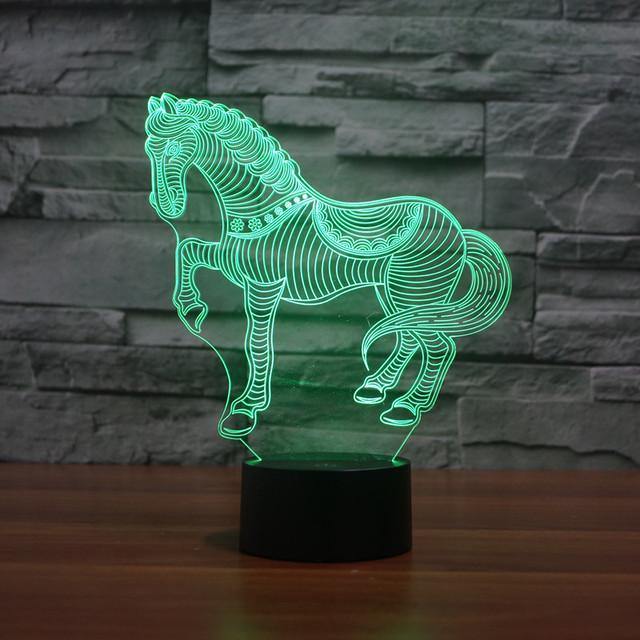 Cambio de 7 colores animales novelty horse 3d luz de noche para niños animales Llevó La lámpara de Mesa Bombilla Led nightlight para regalo del niño IY803406