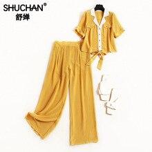 Shuchan 2шт Набор Женщин Натуральный Шелк Желтый Короткий Топ с Коротким Рукавом + брюки Старинные