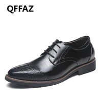 QFFAZ New Leather Mens Dress Shoes High Quality Oxford Shoes For Men Lace Up Business Men