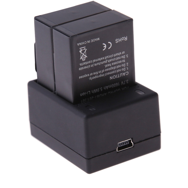 2 unids x ahdbt-301 302 1600 mah batería recargable para gopro hd hero3 3 + negro dual usb cargador