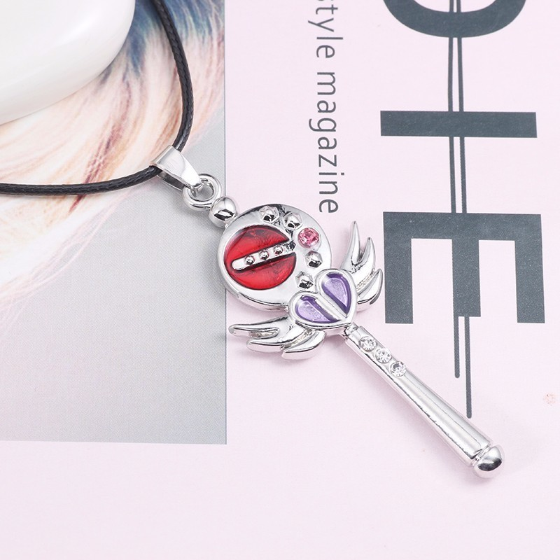 Anime Movie Sailor Moon Necklace For Women Crystal Star Wing Wand Pendant Purple Love Heart Necklaces Pendant Trendy Jewelry in Pendant Necklaces from Jewelry Accessories