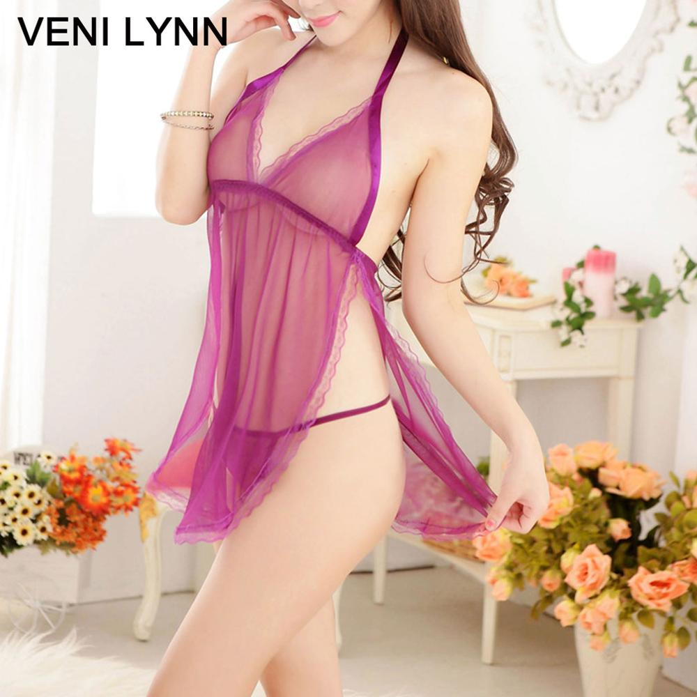 VENI LYNN Silk Romantic   Nightgowns   &  Sleepshirts   Sexy Lingerie Women Cute for Girls