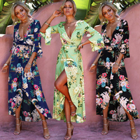 DERUILADY Higt Waist Boho Style Long Dress Floral Print Beach Summer V Neck Dresses Fashion Ruffles