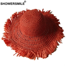 SHOWERSMILE Women Summer Sun Hat Foldable Orange Female Paper Straw Hollow Mesh Breathable Crochet Brand Ladies Beach Hats