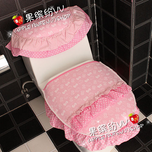 3pcs/set Cartoon Hello Kitty Pink Print Lace Thick Toilet Set Bathroom  Toilet Seat Lid