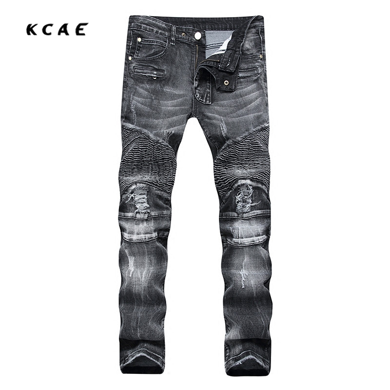2017 New Men's Fashion Gray Hole Ripped Biker Jeans Casual Slim Retro Stretch Denim Straight Pants Long Trousers 2017 new men s fashion vintage zipper patch hole ripped biker jeans slim straight stretch denim pants long trousers