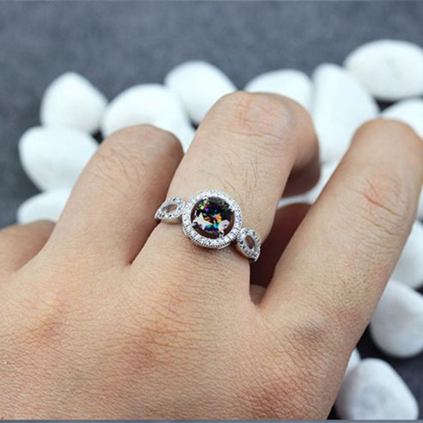 Fleure Esme ring jewelry for women costly Rainbow White Square Mystic Stone Accessories Gift R3245 sz# 7 8 9 Engagement Wedding