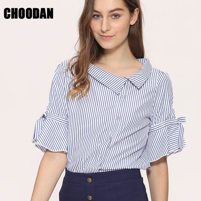 efc02e785 Novelty Blouses Shirts Women Striped Blouses 2018 New Stylish Sailor Collar  Flare Short Sleeve Ladies Korean Style Summer Tops