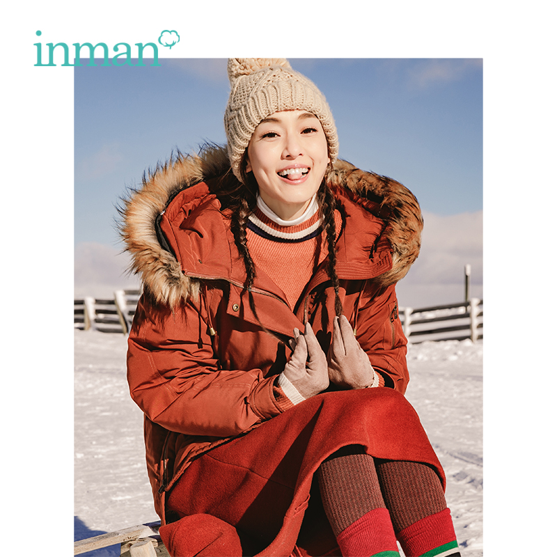 INMAN 2019 New Arrival Autumn Female Hooded Big Fur Collar Loose Short Size Down Coat