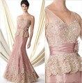 New Arrival vestido de madrinha 2016 custom Mermaid  Appliques V-Neck Sleeveless off the shoulder mother of the bride dresses