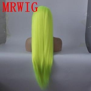 Image 4 - MRWIG シルバーグリーンロングストレート合成グルーレスフロントレースのかつら中部 26in リアル picturehair 熱 reasitant 繊維在庫