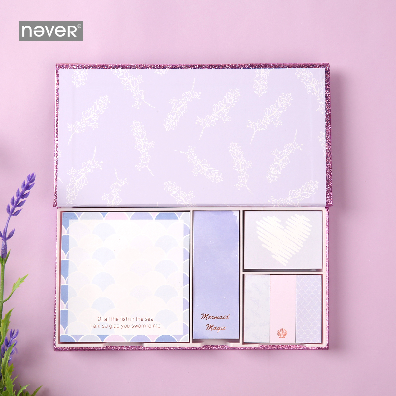 Never Purple Mermaid Series Kawaii Cute Notepads Sticky Notes Set Planner Stickers Page Flag Office Decor Girls Gift Stationery