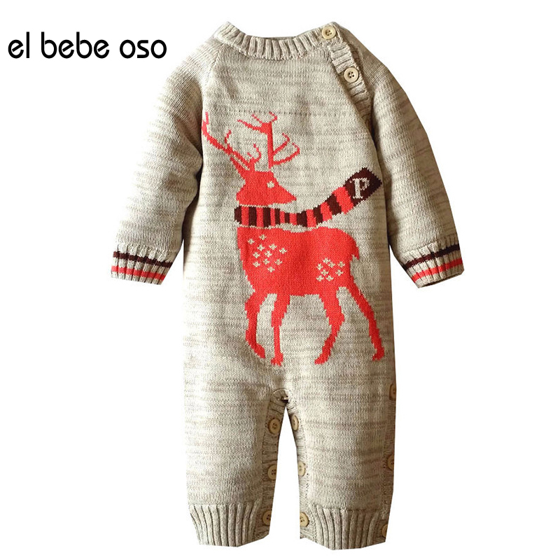 el bebe oso New 2017 Baby Clothes Long Sleeve Christmas Deer Baby Rompers Newborn Cotton Clothing Jumpsuit Infant Clothing XL508 cotton baby rompers infant toddler jumpsuit lace collar short sleeve baby girl clothing newborn bebe overall clothes h3