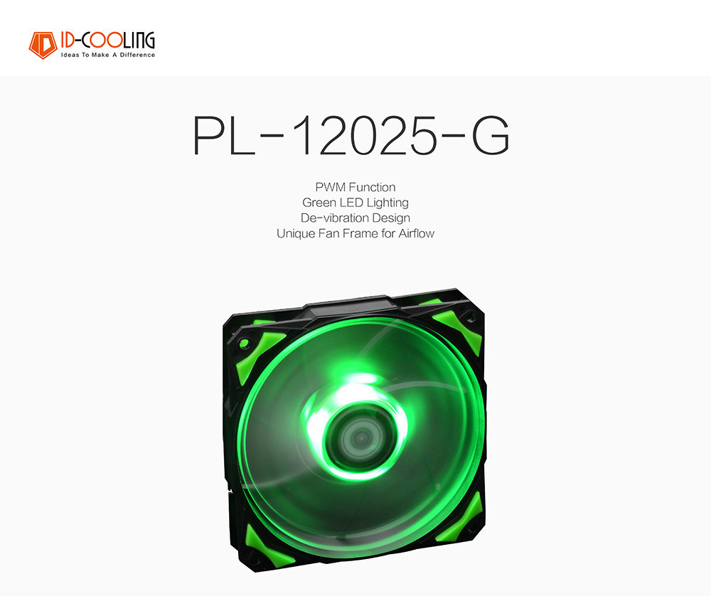 Id Cooling Pl12025 Green Led 120mm 4pin Pwm Fan With De Vibration Rubber2200rpm71cfmlow Noisebig Airflow Pc Case Cooler In Fans Tg 11 Aeproduct