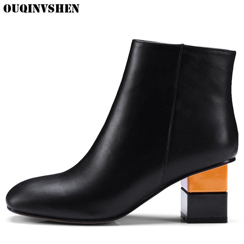 OUQINVSHEN Zipper Square Toe Boots Short Plush Women Ankle Boots Fashion Square heel High Heels Ladies Genuine Leather Boots vankaring shoes 2017 women ankle boots side zipper square toe hoof heels comfortable high quality short plush blet buckle boots